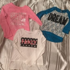 Bundle of Three Cute Girls Long Sleeved Tops